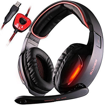 Sades Gaming Headset with USB Sound Card and Mic Black & Red
