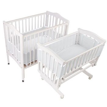 BreathableBaby Breathable Bumper for Portable and Cradle Cribs-White