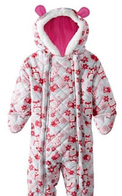 3c350b2b8 Pink Platinum Baby Girl Owl Microfleece Quilted Puffer Snow Pram Suit