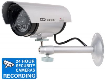 Dome CCTV Camera Indoor /& Outdoor with one LED Light Warning Security Camera for Home//Warehouse Tosuny Dummy Fake Security Camera