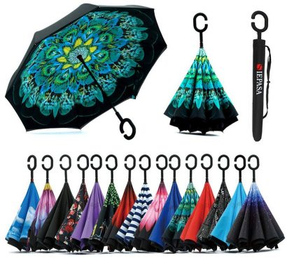 Double Layer Inverted Inverted Umbrella Is Light And Sturdy Haunted Forest Reverse Umbrella And Windproof Umbrella Edge Night Reflection
